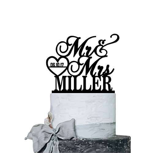 P Lab Personalized Cake Topper Mr. Mrs. Last Name Custom Date 2 Wedding Cake Topper Acrylic Decoration for Special Event Purple Mirror
