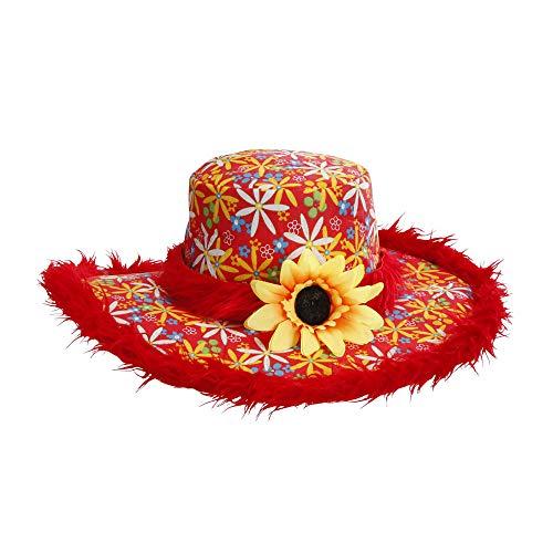 Widmann - Hut Ibiza mit Plüschrand und Sonnenblume