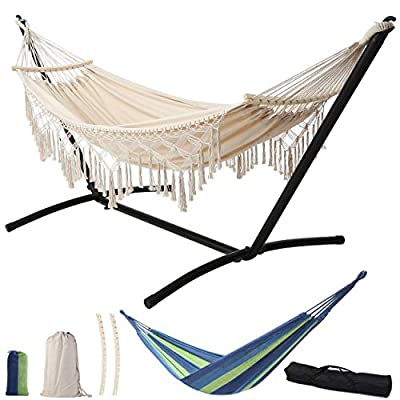 Leize Double Hammock with Stand Portable Hammock Stand Heavy Duty SteelOutdoor Patio Yard Beach Double Hammock Or Indoor with Carrying Case
