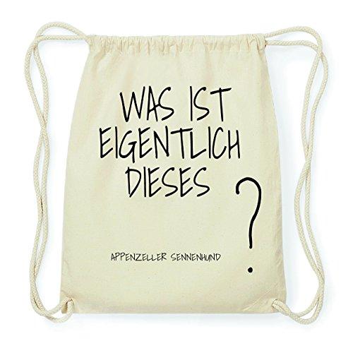 JOllify Appenzeller Sennenhund Hipster Turnbeutel Tasche Rucksack aus Baumwolle - Farbe: Natur – Design: was ist eigentlich - Farbe: Natur