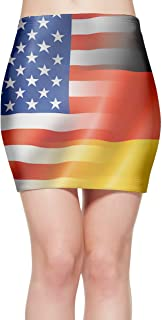 QG ZZX Women American and German Flags Stretch Miniskirt Popular Sexy Stretchy Bodycon Skirt