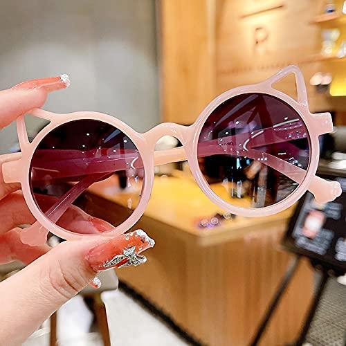 YULE Gafas de sol redondas polarizadas con forma de oso de ojo de gato para niños y niñas, gafas de sol con protección UV400 (color de la montura: otros, color de las lentes: rosa)