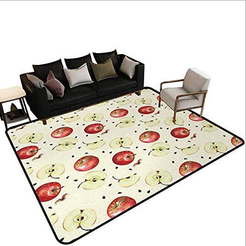 MsShe grote tapijt appel, gehalveerd en gekwartierd organische McIntosh appels gastronomisch voedsel gezond leven, ivoor rood Reseda groen