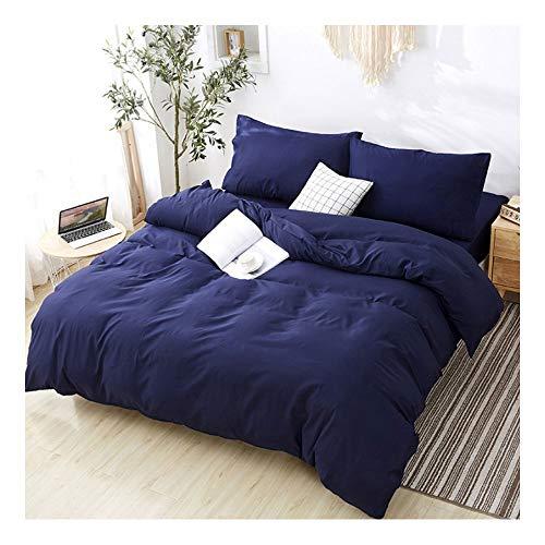 Suave Conjunto de hojas de cama de 4 piezas de ropa de cama, tapa de edredón de color sólido simple + sábana de cama + 2 fundas de almohadas. Comodidad y suavidad de nivel de hotel transportable adecu