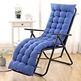 Almohadillas de cojín para tumbonas, gruesas de 8 cm, cojines para silla mecedora de jardín, cojines de asiento para interiores y exteriores, para muebles reclinables (155 x 55 cm), color azul