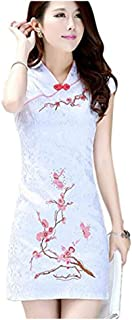 Women' Vintage Embroidery Chinese Traditional Cheongsam Dress