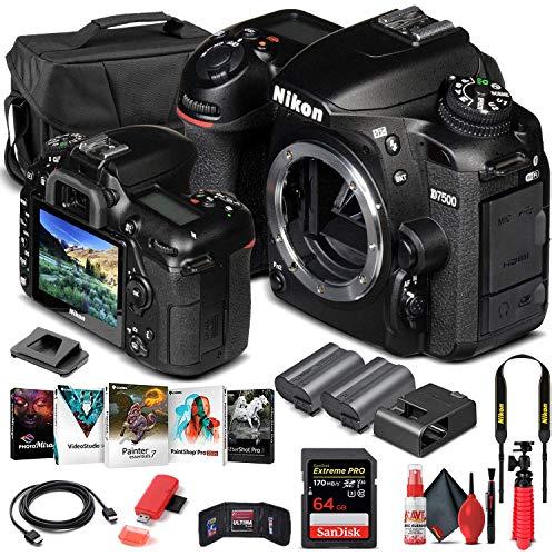 Nikon D7500 DSLR Camera (Body Only) (1581) + 64GB Memory Card + Case + Corel Photo Software + EN-EL 15 Battery + Card Reader + HDMI Cable + Deluxe Cleaning Set + Flex Tripod + Memory Wallet (Renewed)