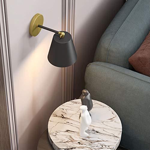 Lámpara de pared retro de metal negro Lámpara de cabecera de interior con interruptor y zócalo Aplique de pared Luz de lectura de pared ajustable Lámpara industrial E27 para sala de estar Dormitorio