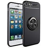 SORAKA Funda para iPhone 5/5S/SE 2016 con Anillo Giratorio de 360 Grados Funda Silicona Suave Funda Ultrafina con Placa de Metal para Soporte magnético de teléfono para automóvil