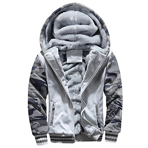 Aoogo Herren Camouflage Hoodie Winter warme Fleece Zipper Sweater Jacke Outwear Mantel Kapuzenpullover Gefütterte Sweatjacke Zip-Hoodie Jacke mit Kapuze Winter Kapuzenpullis