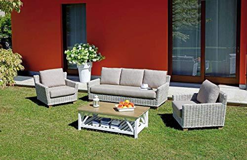 Grupo Maruccia sofá para Jardines y hoteles de Fibra y Madera Cinco plazas con Cojines y Mesa de salón para Exteriores sofá Hotel y jardín