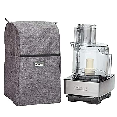 HOMEST Food Processor Dust Cover with Accessory Pockets Compatible with Cuisinart Custom 11-14 Cup, Grey (Dust Cover Only, Patent Pending)