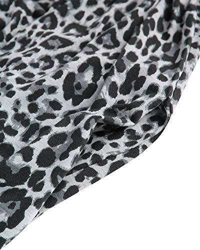 CNFIO Mujer Vestido Cuello Redondo Manga Larga Plus Tamaño Tops Moda Jersey Punto Mujer Invierno (Gris-Leopardo, M)