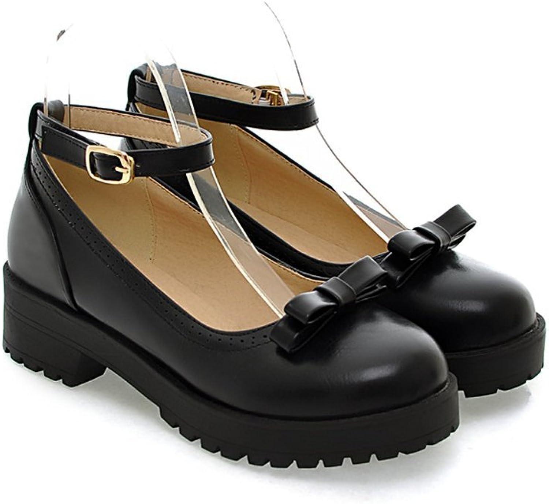 Davikey Womens Lolita Style Round Toe Chunky Low Heel Mary Janes shoes