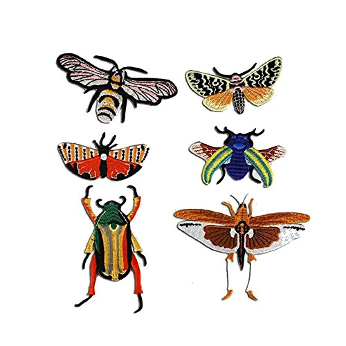1set/6pieces Insects Embroidery Applique Fabric Patches Badges DIY Craft for Jeans Clothes Decorated Sewing