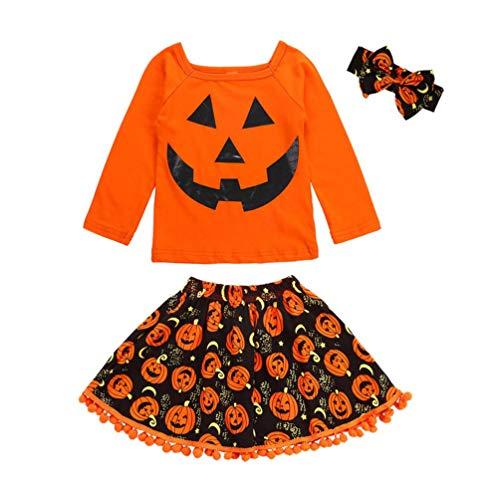 3pcs Neonata Halloween Completini Manica Lunga Cartoon Stampa T-Shirt Cime + Nappa Ricamo Zucca Gonna Fascia Bambina Vestiti (Arancione, 2 Anni)