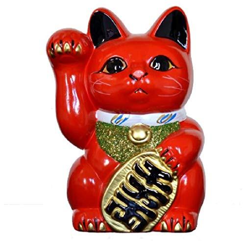 Hecho en Japón gato 19,05 cm Tokoname porcelana rojo Maneki Neko mano derecha