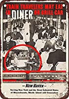 ニューヘブン鉄道のダイニング メタルポスタレトロなポスタ安全標識壁パネル ティンサイン注意看板壁掛けプレート警告サイン絵図ショップ食料品ショッピングモールパーキングバークラブカフェレストラントイレ公共の場ギフト