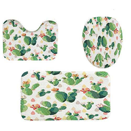 HOLD Badteppich-Set, 3-teilig, rutschfest, grünes Blättermuster mit Blütenmuster, Badezimmerteppich für Küche, Wohnzimmer, Schlafzimmer, WC-Vorleger + Deckel WC-Abdeckung + Badvorleger-Set Medium a