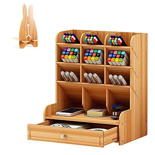 Organizador de escritorio de madera multifuncional con cajones y soporte para teléfono móvil, para casa, oficina, escuela, 21 x 25,5 x 15 cm (color madera)