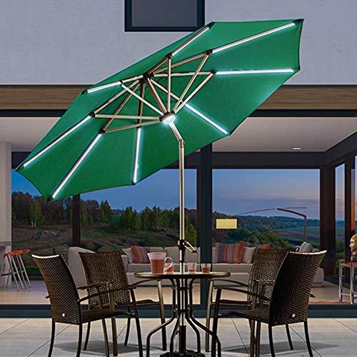 AJH Sombrilla de jardín, sombrillas de Patio con sombrillas iluminadas con luz Solar de 2.7 m (9 pies) con manivela de Aluminio Inclinada, iluminación LED Desde el Sol ha