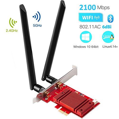 HOMMIE PCIe WLAN-Karte, Bluetooth 5.0 AC 2100 Mbit / s Wireless PCI Express-Netzwerkadapter, WLAN-Karte, Wireless PCI-e-Karte für den Desktop, Unterstützung für Windows 10