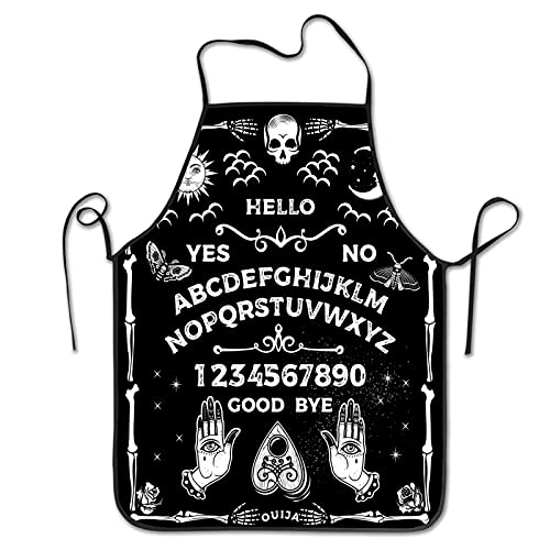 Magic Ouija Board Apron Sun Moon Stars Apron Vintage Skeleton Goth Gothic Adjustable Bib Aprons,Water Oil Stain Resistant Chef Cooking Kitchen Aprons For Men Women