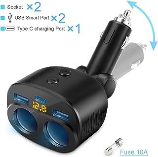 Cargador de Coche USB C, 2 enchufes Adaptador de Encendedor de Cigarrillos Adaptador USB Dual Tipo C Puertos Interruptor Separado LED Pantalla de Voltaje Fusible de 10 A reemplazable Incorporado