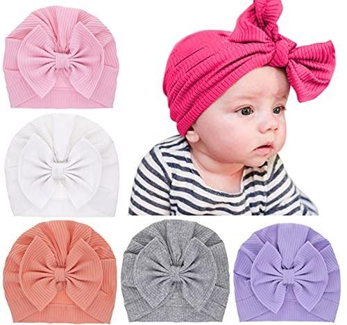 5 paquetes de sombreros de bebé sombreros turbante con nudo de lazo Gorro suave y lindo para niños para niños, bebés, recién nacidos ...
