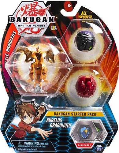 Bakugan 6055457 - Starter Pack 3er Pack, Aurelus Dragonoid, Sammel-Actionfiguren, ab 6 Jahren