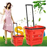 ASL スーパーマーケットショッピングバスケットトロリー車の手のバスケット食品バスケットプラスチックバスケットショッピングカートショッピングカートの2つのラウンド HAPPY ( 色 : 赤 )
