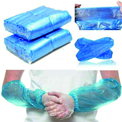 100 X Disposable Arm Covers Arm Sleeves Oversleeves Home Cleaning Medical Waterproof Cover One Size Blue - Manufacturer Sealed Packaging
