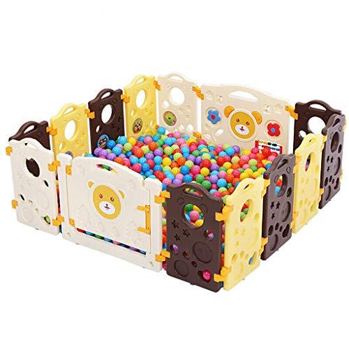 NQ-ChongTian Baby Zaun, Kinder Indoor und Outdoor Spiel Zaun, Baby Zaun Sicherheit Kleinkind Spielplatz Bibi Bär Schokolade 12 Stück + Gate Bar + Fun Bar