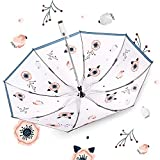 YSVSPRF Paraguas Nuevo Plegable inverso Coche Lluvia Paraguas Femenino Parasol Sol y Lluvia Doble propósito Mujeres Anti UV Verano Paraguas Parasol (Farbe : Flower)