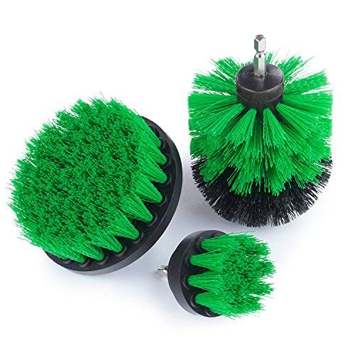 Drillbrush 3 Piece Drill Brush Cleaning Tool Attachment Kit for Scrubbing/Cleaning Tile, Grout, Shower, Bathtub, and All Other General Purpose (Green Set)
