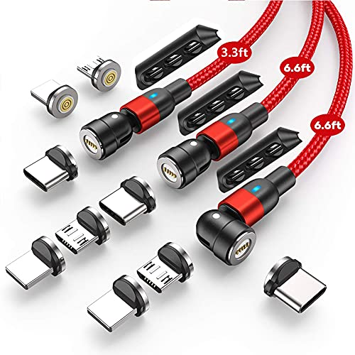 Cable de nailon de doble trenzado,3.0A(1 m, 2 m, 2 m), cable de carga para smartphone Micro/Tipo C/ios, 3 en 1, adaptador magnético (Rojo)