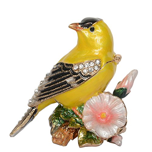Minihouse Canary Bird Trinket Box Hinged Hand-Painted Enameled Bird Figurine Collectible Jewelry Box Ring Holder  Unique Gift for Home Decor