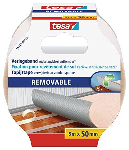 tesa Verlegeband rückstandsfrei entfernbar - Gewebeverstärktes, doppelseitiges Klebeband zum Verkleben von Teppich- und PVC-Bodenbelägen - 5 m x 50 mm