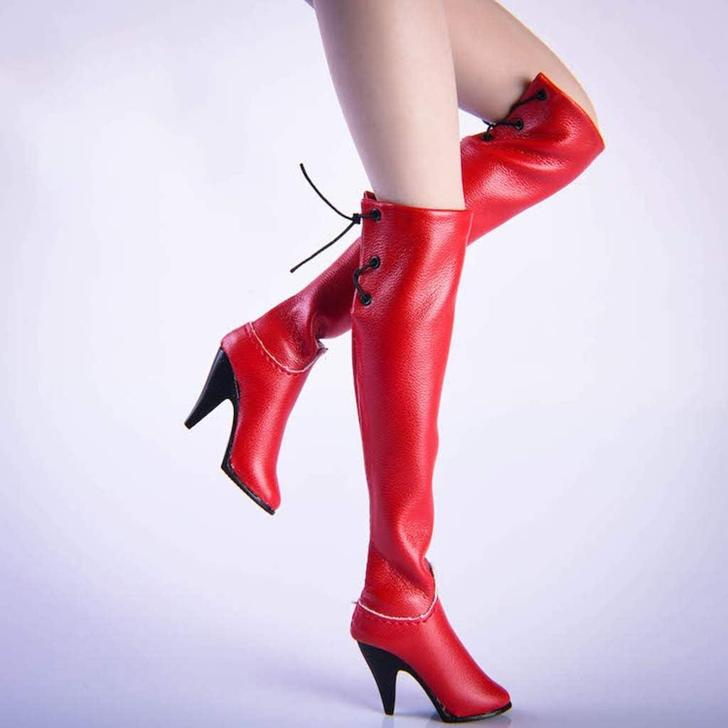 sharprepublic 1//6 Bottes sur Genou de Figurine Femme Accessoires pour 12 Poup/ée Jouet Accessoires Rouge