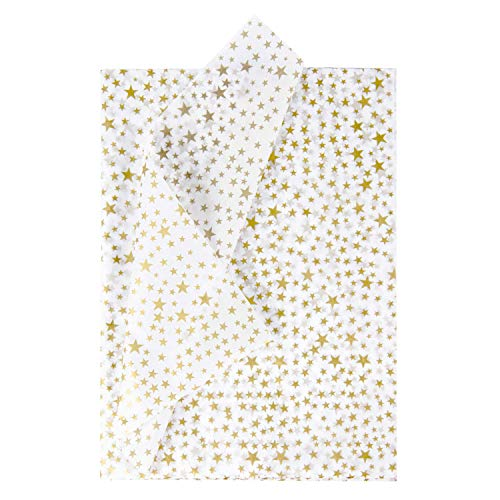 RUSPEPA Gift Wrapping Tissue Paper - Metallic Gold Star Print Tissue Paper Bulk for Gift Wrap, Art Crafts, DIY, Pack Bags - 19.5 x 27.5 inches - 25 Sheets