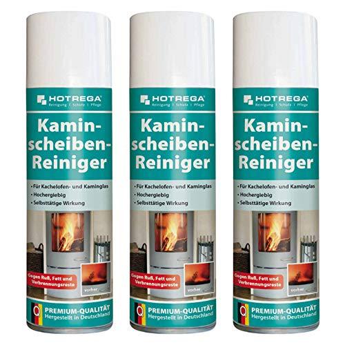 HOTREGA Kaminscheiben Reiniger 300ml Set mühelos Ruß vom Kaminglas entfernen Kachelofen Scheibe reinigen, Mengen:3