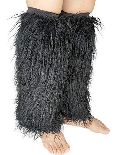 FHQHTH Fuzzy Kunstpelz Beinlinge Pelz Absätze Lange Stiefel Manschette Abdeckung Hat Elastizität Ein Paar Damen mongolisches Fell schwarz Groß