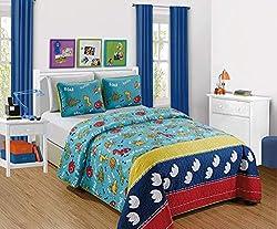 7. Kids Zone Collection Dinosaur Print Twin Quilt Set