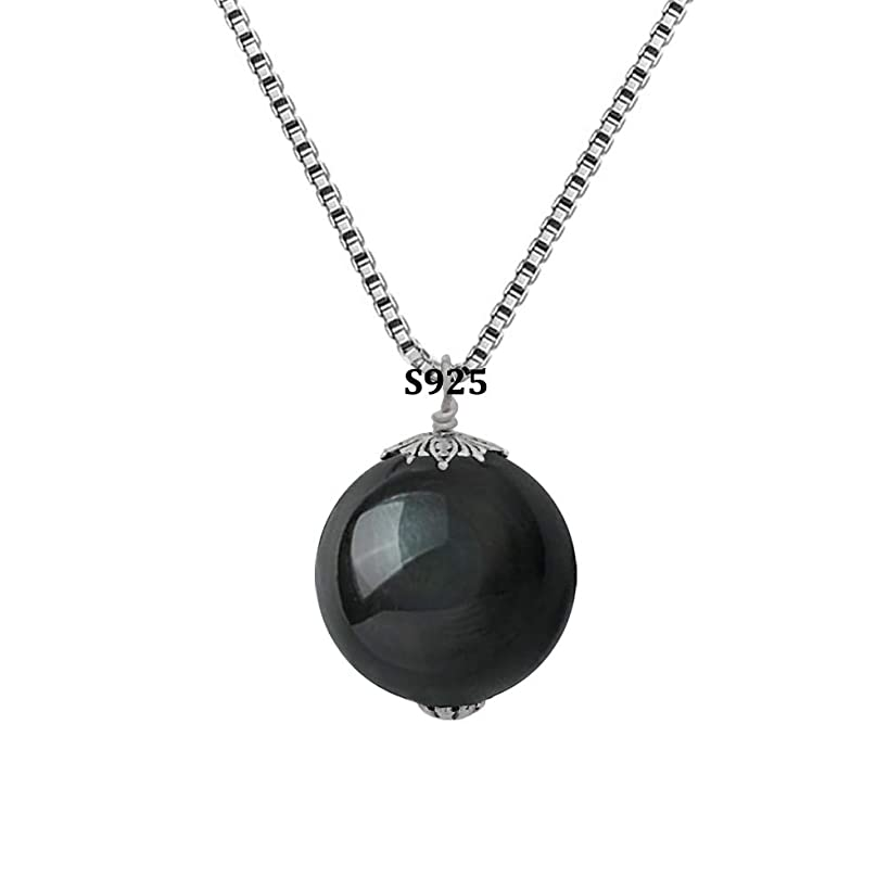OK-STORE Natural Black Obsidian Rainbow Eyes Stone Necklace Pendant, 16mm Obsidian Bead with Woven Cotton Cord, Talisman Dedication of Wellness and Wealth