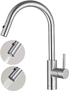 Umi. by Amazon- Küchenarmatur mit Brause Ausziehbar 360° Drehbar Wasserhahn Küche Ausziehbar 2 Strahlarten Spültischarmatur Spüle Mischbatterie Edelstahl Einhandmischer