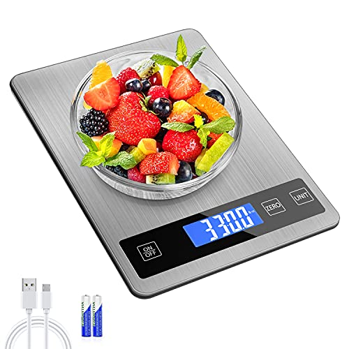 REEXBON balanza Cocina,Báscula Digital para Cocina de Acero Inoxidable, 15 kg/33 LB, Pantalla de LCD, Balanza de Alimentos Multifuncional, Básculas de Cocina, con 2 Baterías & USB Cable