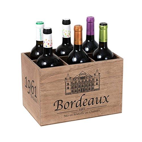 Balvi-Bordeaux1961botellerodeMadera.conEstiloVintage.Capacidad:6Botellas