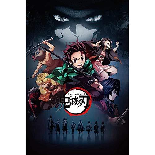 SGOT Anime Demon Slayer Poster Silk Poster Kunsttuch Die Seide Hochwertiger Kunstdruck als Wandbild Raum Dekoration Thema Dekoration 40 * 60 cm