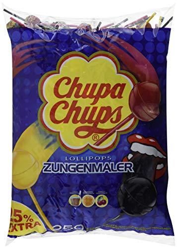 Chupa Chups Zungenmaler Lutscher, Nachfüllbeutel 250 Stück: 25% extra, Färben die Zunge, ohne künstliche Farbstoffe