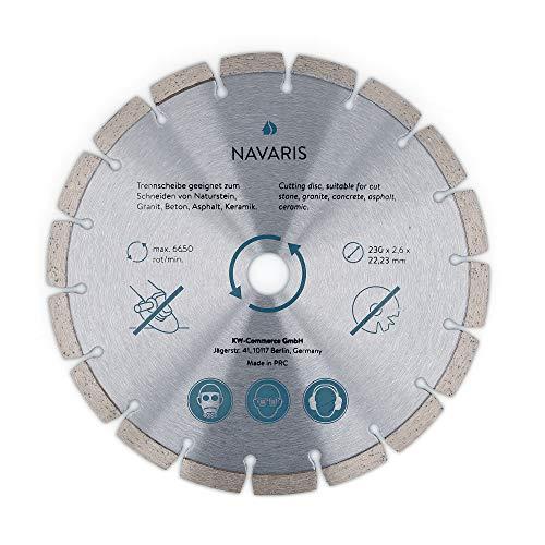 Navaris Disco de corte de diamante - Hoja circular de 230 MM Para amoladora angular para cortar hormigón azulejos listones madera piedra ladrillos
